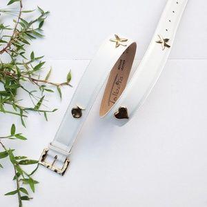 Talbots Size M White Golden Waist Belt